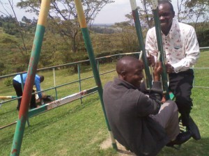 Moses Sikabeta and I playing during the outing